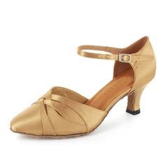 Mulheres Cetim Saltos Salão de Baile com Correia de Calcanhar Sapatos de dança (053021363)