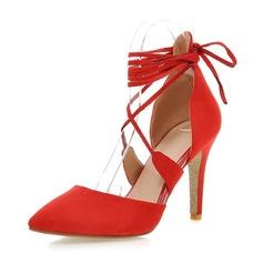 Женщины Замша Высокий тонкий каблук На каблуках Закрытый мыс обувь (085086000)