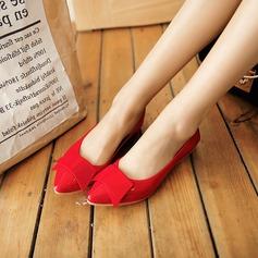 Женщины PU Плоский каблук На плокой подошве Закрытый мыс с бантом обувь (086142471)