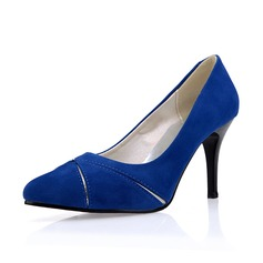 Женщины Замша Высокий тонкий каблук На каблуках Закрытый мыс обувь (085075837)