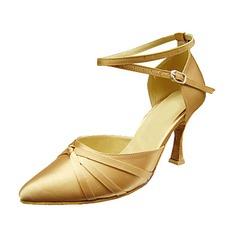 Женщины Атлас На каблуках На каблуках Современный с Ремешок на щиколотке Обувь для танцев (053013156)