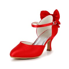 Vrouwen Satijn Stiletto Heel Closed Toe Pumps met Strik (047039753)