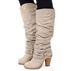 Mulheres Couro Salto robusto Bombas Botas com Pregueado sapatos (088212917)