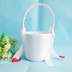 Pretty Flower Basket in Satin With Bow (102046570)