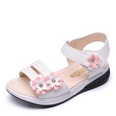 Jentas Titte Tå Leather flat Heel Sandaler Flate sko Flower Girl Shoes med Velcro Blomst (207167107)