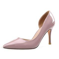 Женщины Лакированная кожа Высокий тонкий каблук На каблуках Закрытый мыс обувь (085092465)