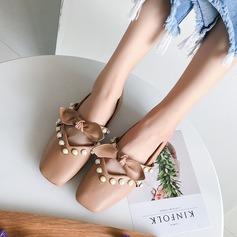 Женщины PU Плоский каблук На плокой подошве Закрытый мыс с бантом Имитация Перл обувь (086137071)