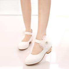 Jentas Lukket Tå Leather lav Heel Pumps Flower Girl Shoes med Velcro Blomst (207153564)