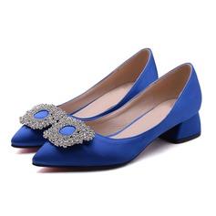 Женщины Атлас Низкий каблук На каблуках с горный хрусталь обувь (085097924)