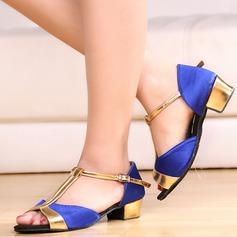 Женщины Шелковые Сандалии Латино с Т-ремешок Обувь для танцев (053113305)