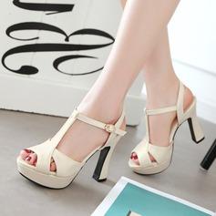 Femmes PU Talon bottier Sandales Escarpins Plateforme À bout ouvert Escarpins avec Boucle chaussures (087127450)