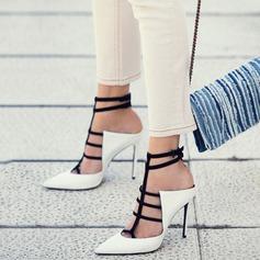 Женщины кожа Высокий тонкий каблук Сандалии На каблуках Закрытый мыс с Баттон обувь (087124928)