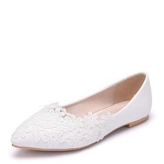 Vrouwen Kunstleer Flat Heel Closed Toe Flats met Van Toepassing (047144240)