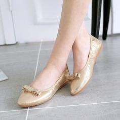 Женщины PU Плоский каблук На плокой подошве Закрытый мыс с бантом обувь (086142463)