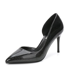 Women's Patent Leather Stiletto Heel Pumps Closed Toe With Others shoes (085155271)