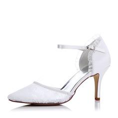 Kvinnor siden som satin Mesh Stilettklack Pumps Sandaler med Spänne Applikationer (047117225)