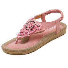Женщины кожа Плоский каблук Сандалии с заклепки Цветок обувь (087093243)