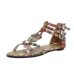 Ткань Плоский каблук Сандалии с пряжка обувь (087063159)