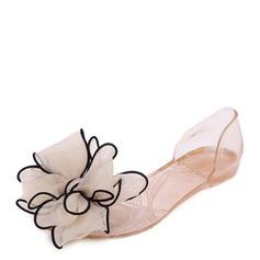 Kvinner PVC Flate sko Titte Tå med Bowknot sko (086165214)