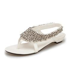 Женщины кожа Плоский каблук Сандалии с развальцовка обувь (087063167)