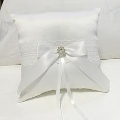 Элегантные Кольцо подушки в Ткань с Лук/Стразы/Кружева (103151822)