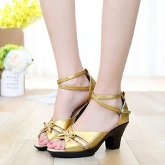 Piel Tacones Sandalias Danza latina con Tira de tobillo Zapatos de danza (053111444)
