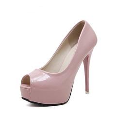 Femmes PU Talon stiletto Escarpins Plateforme À bout ouvert avec Autres chaussures (087132539)