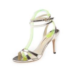 Женщины кожа Высокий тонкий каблук Сандалии Босоножки с пряжка обувь (087050192)