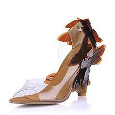 PVC Keil Absatz Sandalen Keile mit Blume Schuhe (087015260)