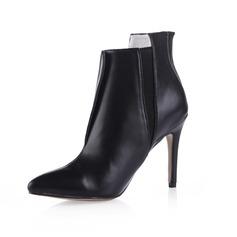 Kunstleder Stöckel Absatz Stiefelette mit Reißverschluss Schuhe (088038181)