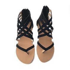 Mulheres Camurça Sem salto Sandálias Sem salto Peep toe com Zíper sapatos (087154159)