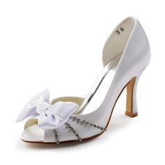 Kvinnor Satäng STILETTKLACK Peep Toe Sandaler med Rosettknut Strass (047005366)