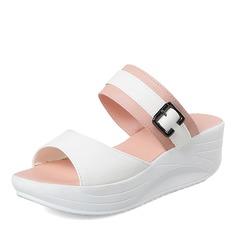 Женщины PU Вид каблука Сандалии Платформа с пряжка обувь (087155480)