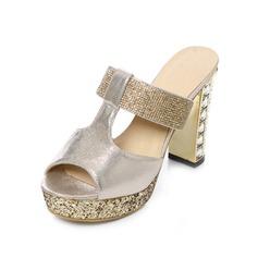 Konstläder Tjockt Häl Pumps Plattform Peep Toe Slingbacks Tofflor med Strass Glittrande Glitter skor (087048913)