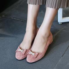 Женщины Замша Плоский каблук На плокой подошве Закрытый мыс с бантом обувь (086134594)