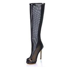 Women's Patent Leather Stiletto Heel Peep Toe Knee High Boots With Hollow-out shoes (088017944)