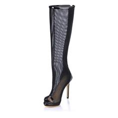 Лакированная кожа Высокий тонкий каблук Открытый мыс Сапоги до колен с В дырочку обувь (088017944)