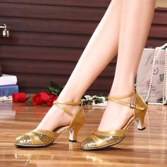 Женщины кожа На каблуках Бальные танцы с пряжка блестками Обувь для танцев (053102965)