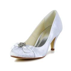 Vrouwen Satijn Cone Heel Closed Toe Pumps met Strik Strass (047029570)