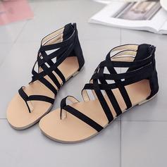 Женщины Замша Плоский каблук Сандалии На плокой подошве Открытый мыс с Застежка-молния обувь (086152985)