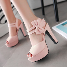 De mujer PU Tacón ancho Sandalias Salón Plataforma Encaje Solo correa con Bowknot zapatos (087127461)