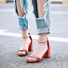 Женщины Замша Устойчивый каблук Сандалии Открытый мыс с пряжка обувь (087116054)