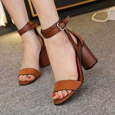Women's PU Chunky Heel Sandals Peep Toe With Buckle shoes (087145428)