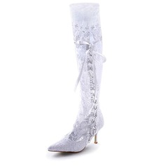 Women's Satin Stiletto Heel Boots Closed Toe With Ribbon Tie Stitching Lace (047005049)