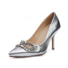 Натуральня кожа Высокий тонкий каблук На каблуках Закрытый мыс с горный хрусталь обувь (085050316)