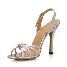 Women's Patent Leather Stiletto Heel Sandals Slingbacks With Buckle shoes (087016989)