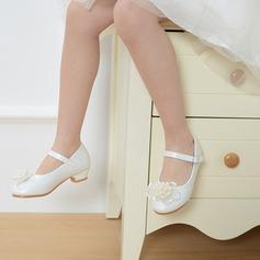 A menina de Toe rodada Fechados imitação de couro low Heel Sem salto Sapatas do florista com Fivela Pérola Imitação Laço de cetim (207113590)