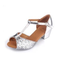 Детская обувь кожа На каблуках Сандалии Латино с Т-ремешок Обувь для танцев (053057184)