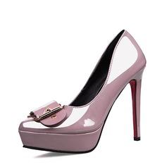 Женщины Лакированная кожа Высокий тонкий каблук Закрытый мыс Платформа На каблуках с пряжка (047142884)