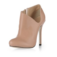 Leatherette Stiletto Heel Closed Toe Pumps Ankle Boots (088020538)